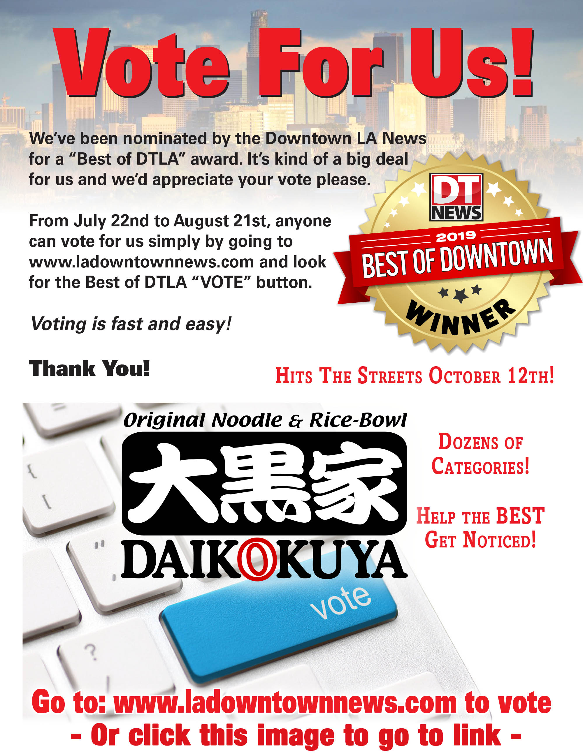 Vote for us! DT News Best of Downtown Los Angeles